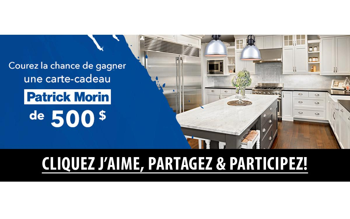 concours gagnez une carte cadeau patrick morin de 500. Black Bedroom Furniture Sets. Home Design Ideas