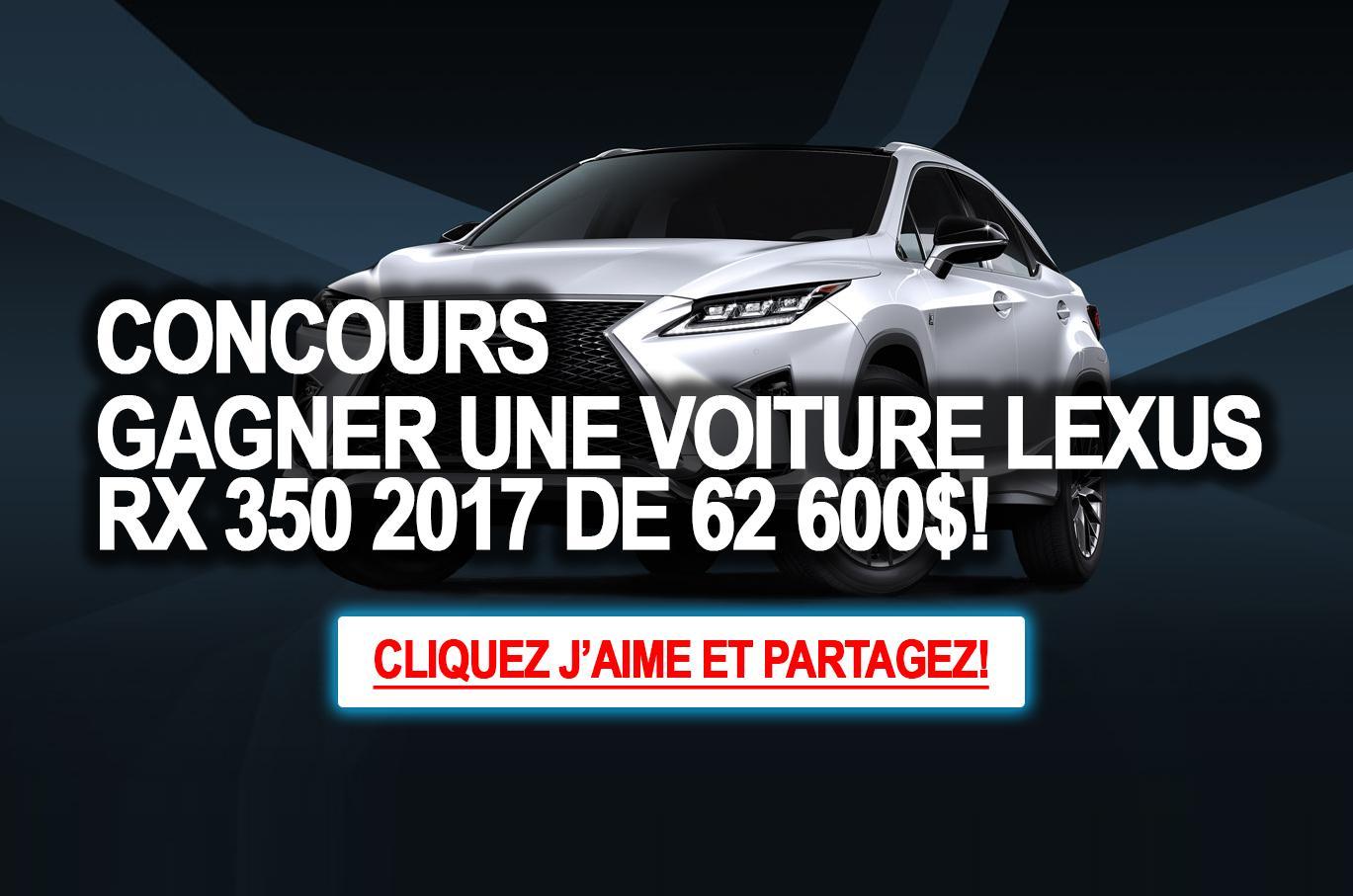 concours participez pour gagner une voiture lexus rx 350 2017 de 62 600. Black Bedroom Furniture Sets. Home Design Ideas