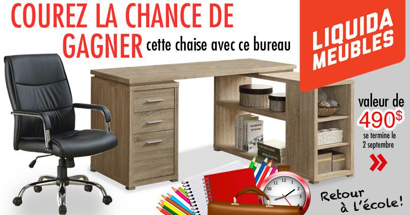 Courez la chance de gagner une chaise et un bureau chez liquida meubles - Bureau des concours aphp ...