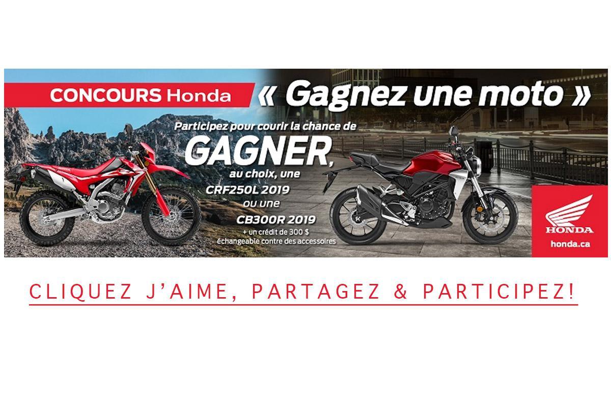 Concours: Gagnez une moto Honda 2019 d'une valeur de 5 800$!