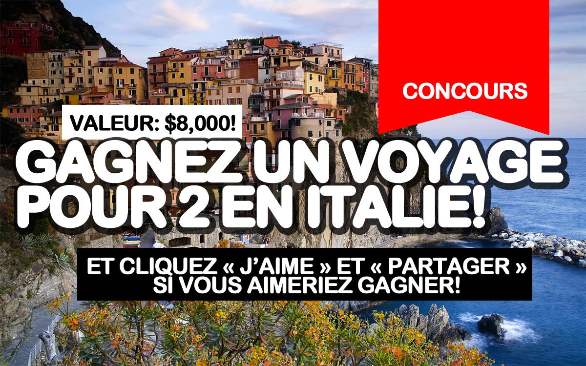 concours gagnez un voyage pour 2 en italie 8 000 aimez et partagez si vous aimeriez gagner. Black Bedroom Furniture Sets. Home Design Ideas