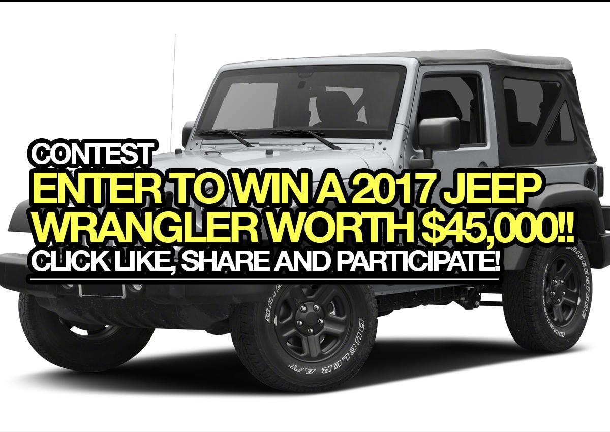 Enter to win a 2017 Jeep Wrangler worth $45,000!