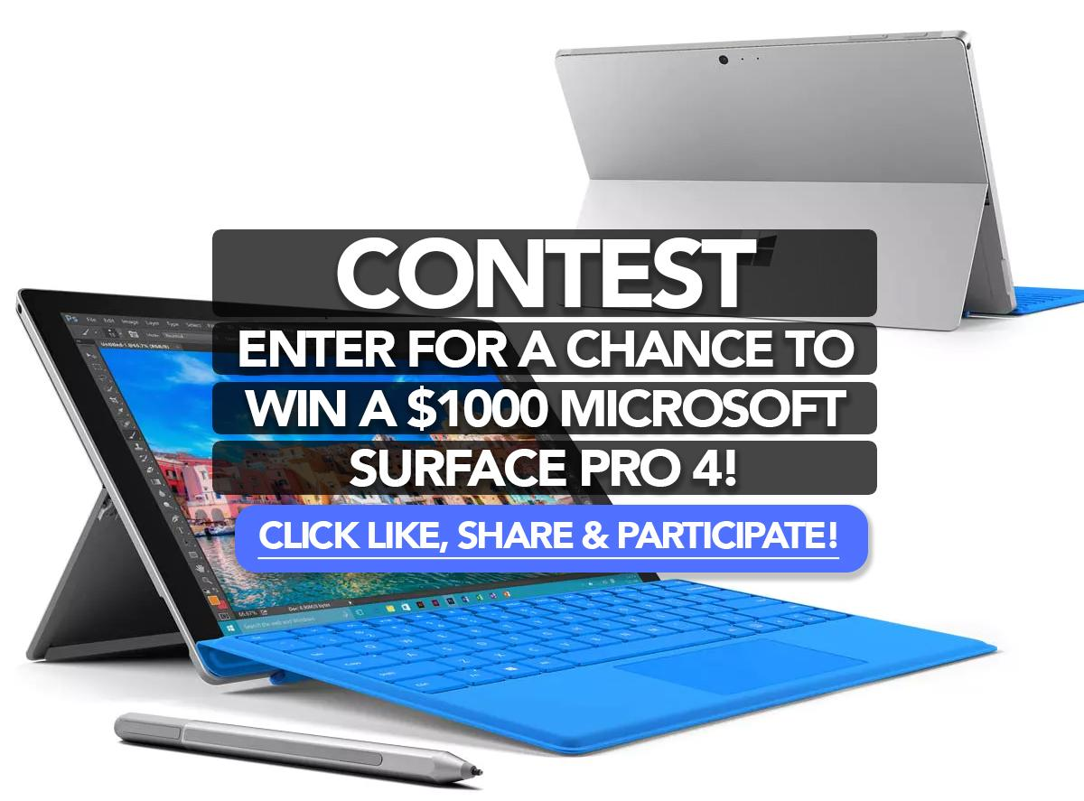 win a sweepstakes enter for a chance to win a 1000 microsoft surface pro 4 4593