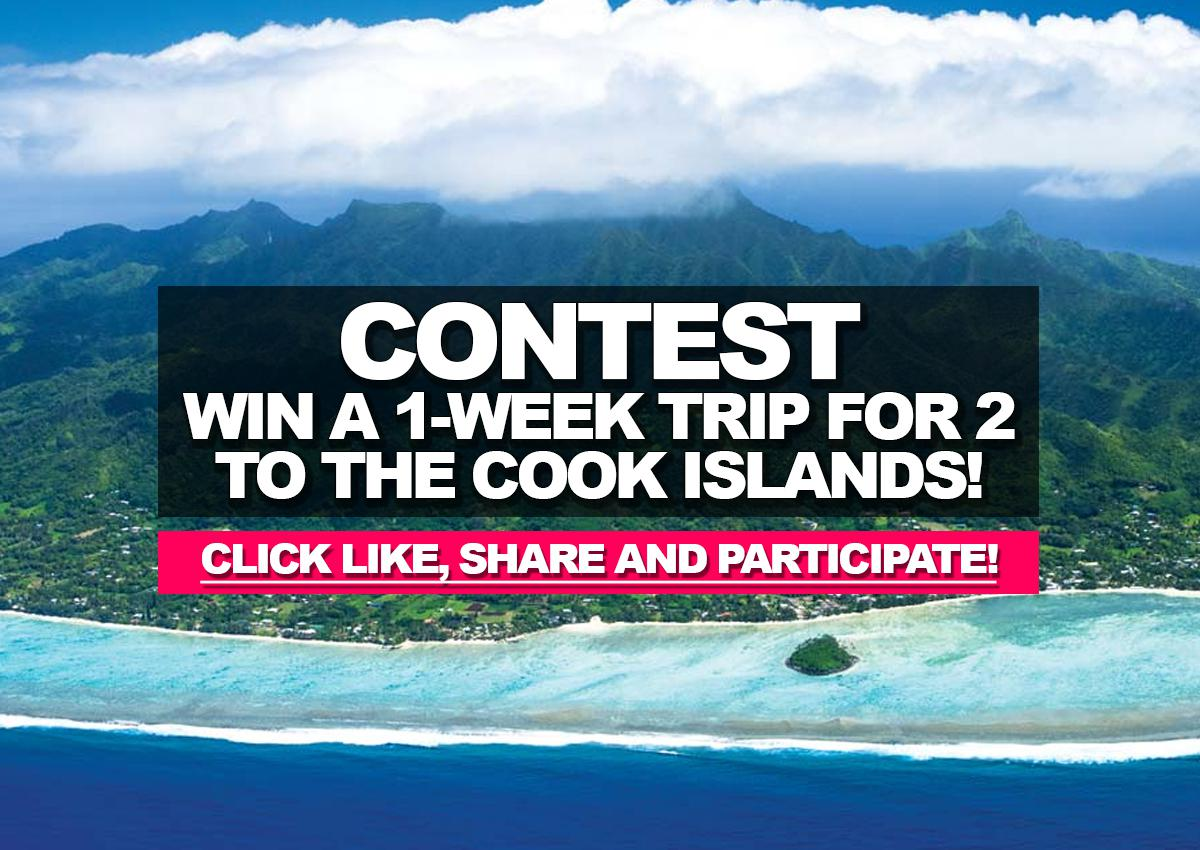 Enter for a chance to win a 1-week trip for 2 to the Cook Islands!