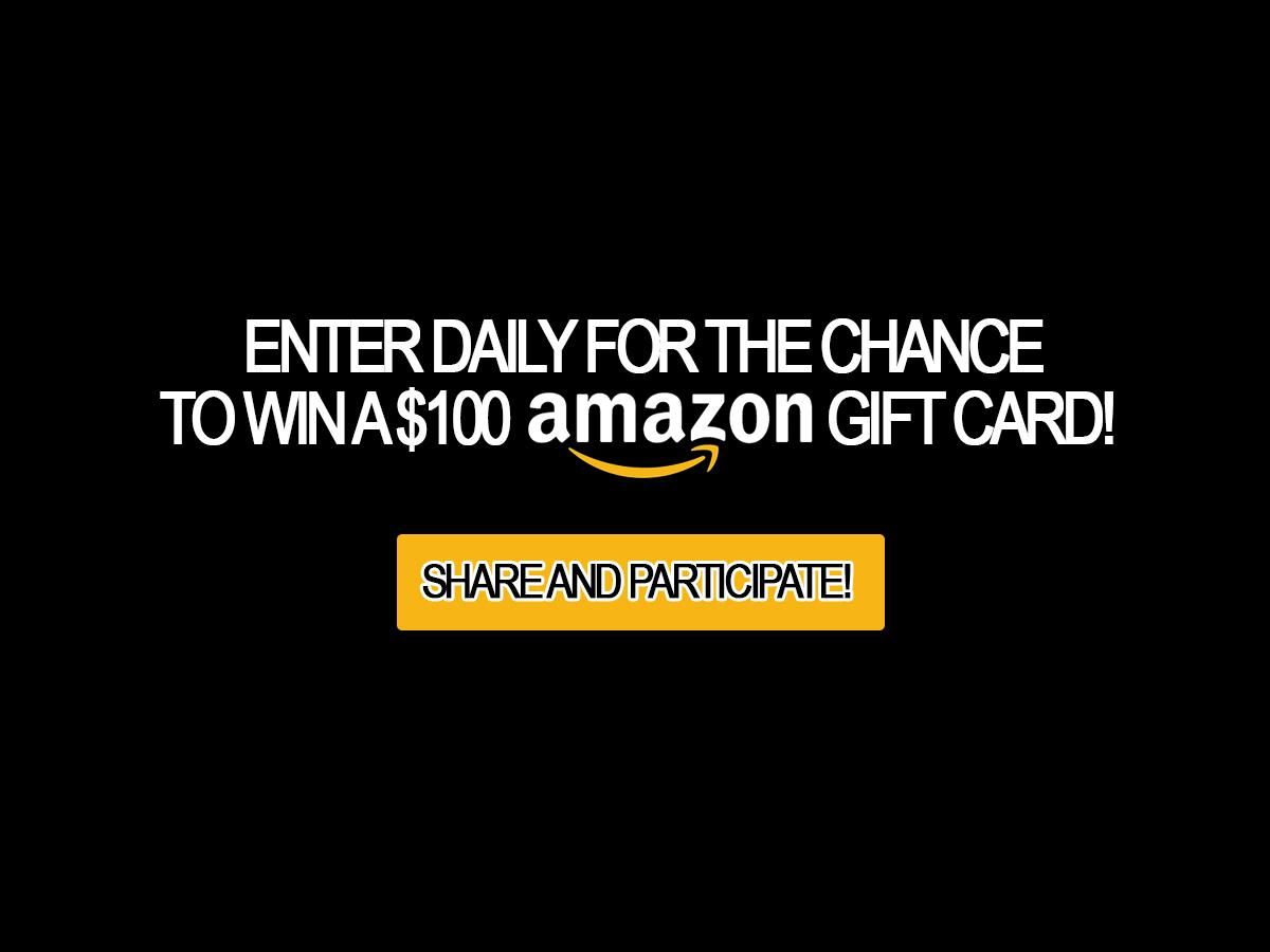 Amazon Gift Card Giveaway: 4 $100 gift card to win every day!